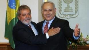 O presidente Lula e o primeiro-ministro israelense, Benjamin Netanyahu, em Jerusalém.
