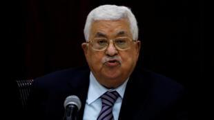 Le président de l'Autorité palestinienne Mahmoud Abbas lors de son discours au Comité central du Fatah à Ramallah, le 6 octobre 2018.