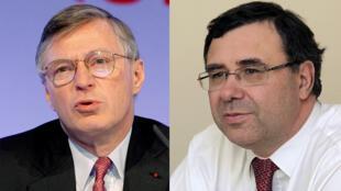 Le nouveau président Thierry Desmarest (g) et le nouveau directeur général du groupe de Total Patrick Pouyanné (d).