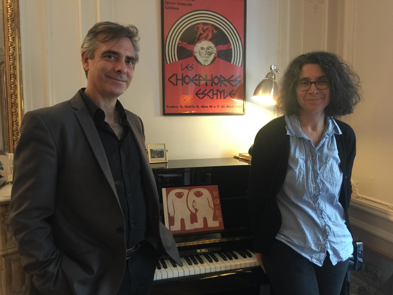 O pianista Bruno Belthoise e a editora Ana Lima. Paris, Outubro de 2019.