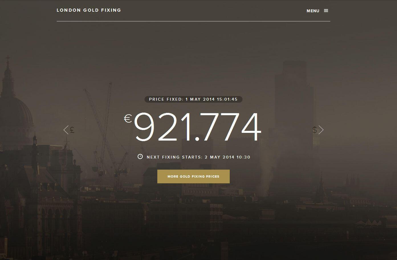 La page d'accueil de London fixing gold