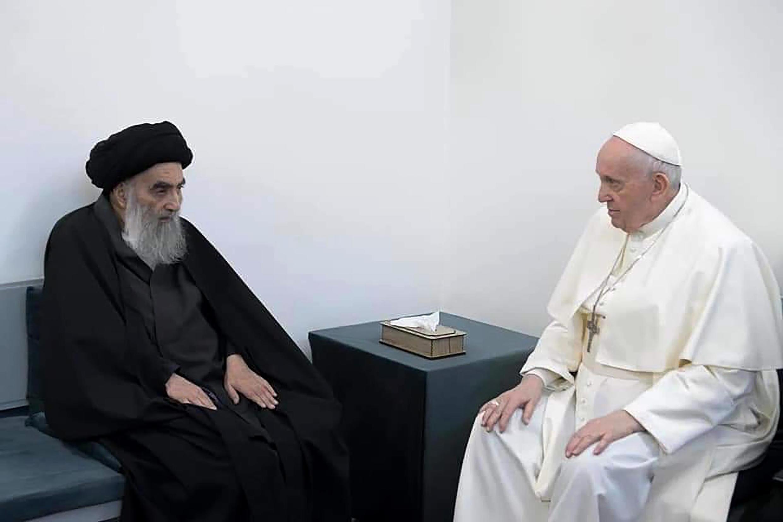 Pope Francis, (right) met with Shiite Muslim leader Grand Ayatollah Ali al-Sistani in Najaf, Iraq_6 March 2021_AP Photo