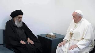 Papa Francisco e o líder muçulmano xiita Ali al-Sistani. Em Najaf, Iraque.