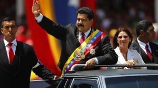 O presidente venezuelano, Nicolás Maduro, na chegada para as comemorações do primeiro aniversário da morte do seu antecessor  Hugo Chávez.