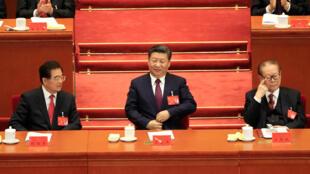 中国国家主席习近平及前国家主席胡锦涛与江泽民在中共19大开幕式上 2017年10月18日