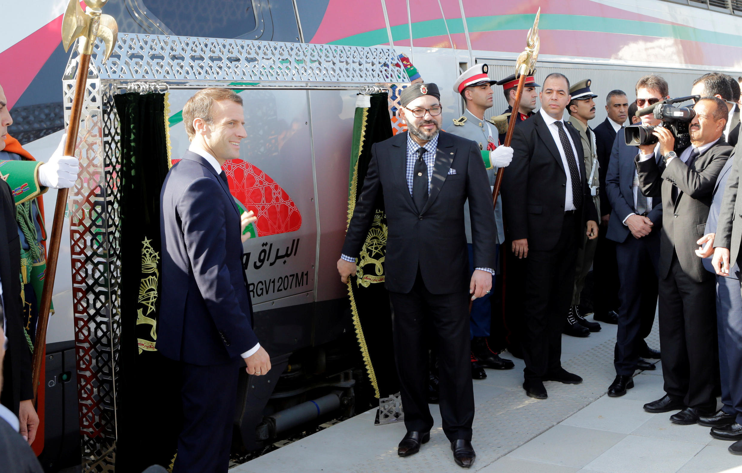 French President Emmanuel Macron and Moroccan King Mohammed VI attend the launch ceremony of the first High Speed Train to operate in Africa, in Tangier, Morocco November 15, 2018.