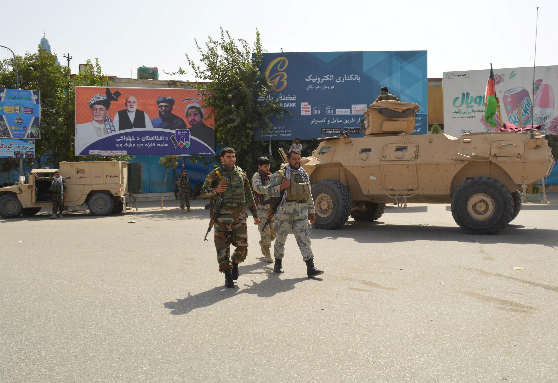 Lực lượng an ninh Afghanistan tuần tra sau vụ tấn công của quân nổi dậy Taliban nhắm vào Kunduz, ngày 31/08/2019.