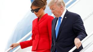特朗普夫婦飛抵巴黎奧利機場