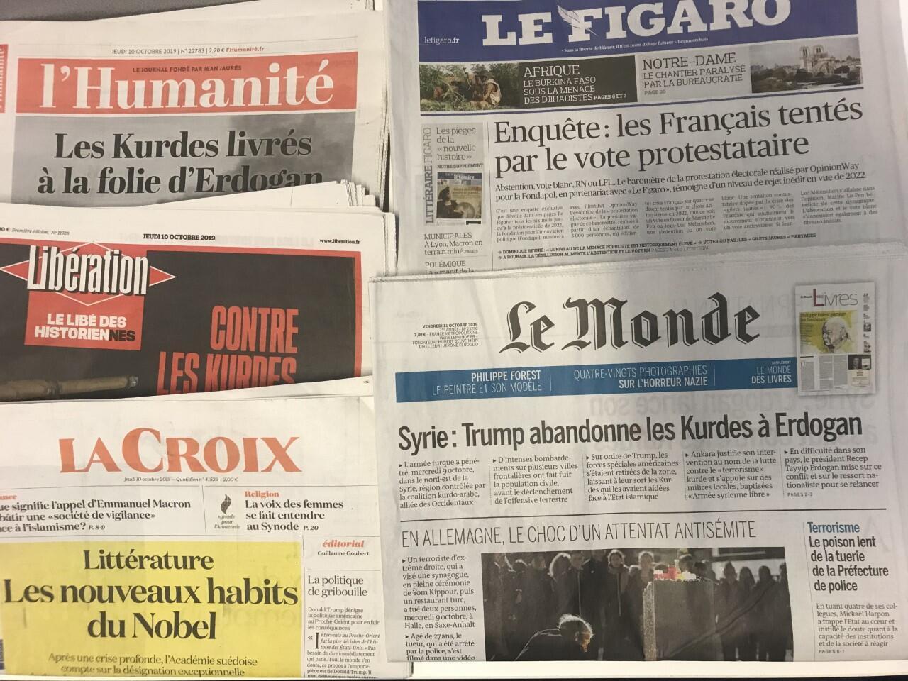 Primeiras páginas dos diários franceses de 10 de Outubro de 2019.