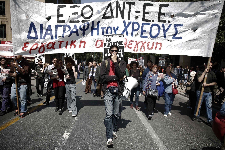 Athènes lors d'une précédente grève générale, le 9 avril 2014.