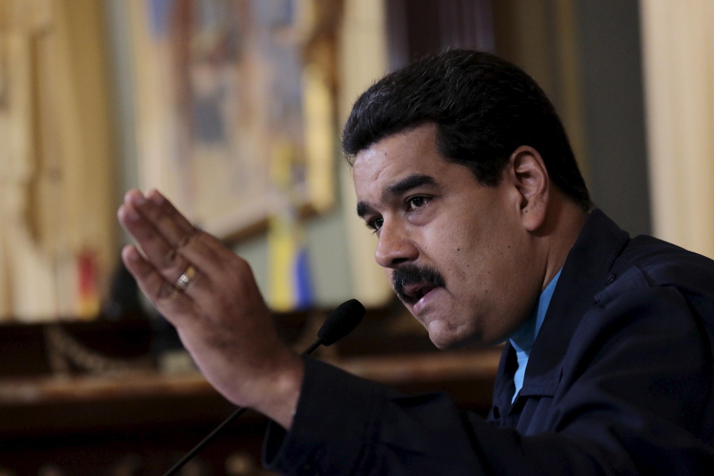 El presidente venezolano Nicolas Maduro en el Palacio de Miraflores, agosto de 2015.
