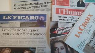 Primeiras páginas dos jornais franceses de 15 de janeiro de 2018