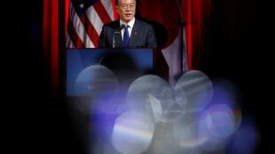 Tổng thống Hàn Quốc Moon Jae In phát biểu tại Phòng Thương Mại Mỹ, Washington, ngày 28/06/2017.