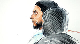 A court artist drawing shows Salah Abdeslam, one of the suspects in the 2015 Islamic State attacks in Paris, in court during his trial in Brussels, Belgium, February 5, 2018.