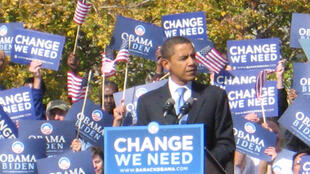 L'un des derniers meetings de campagne de Barack Obama, le 26 octobre 2008, à Denver (Colorado).