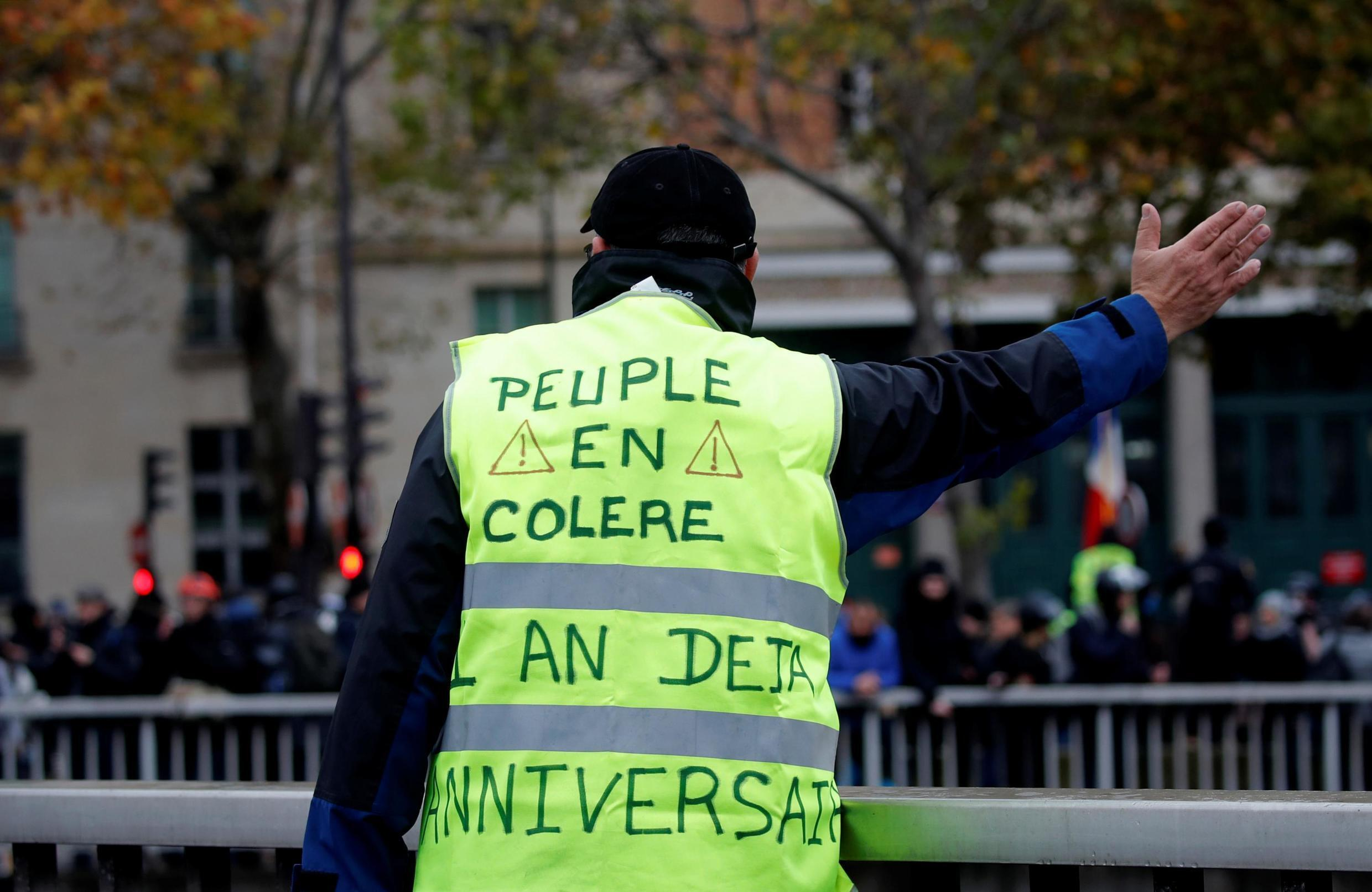 A Yellow Vest protester on November 16, 2019, one year after the protests started.