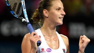 Happy girl: Karolina Pliskova came back from the brink to beat Serena Williams.