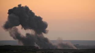 Smoke rising from baghouz Baghouz, February 19, 2019