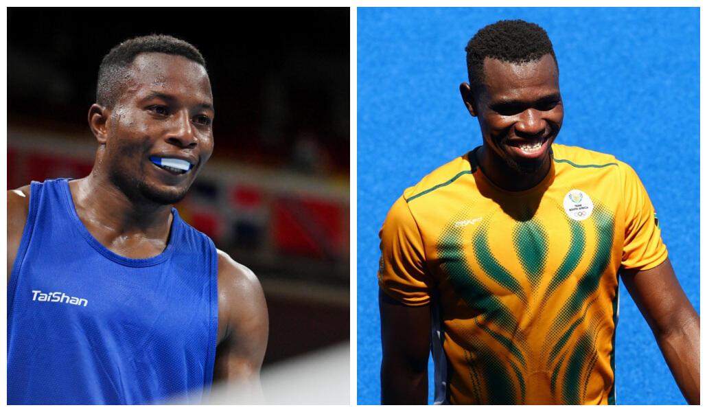 Le boxeur de République démocratique du Congo David Tshama et le hockeyeur sud-africain Nduduzo Peabo Lembethe