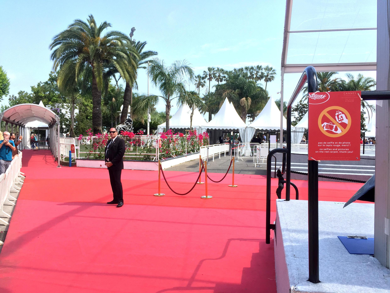 """戛納影節期間,電影宮前紅毯旁的標牌""""請勿在紅地毯上自拍和拍照。謝謝! """""""