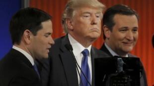 Marco Rubio, Donald Trump y Ted Cruz  03/03/2016.