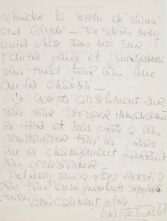 Lot n°723 (around 3,000 euros): Letter from Brigitte Bardot to record company Philips