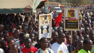 Manifestation pour exiger la lumière sur l'assassinat de Norbert Zongo en 2008, à Ouagadougou, la capitale du Burkina Faso.