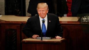 Donalad Trump no seu discurso sobre o estatado da União a 30/01/2018 em Washington.
