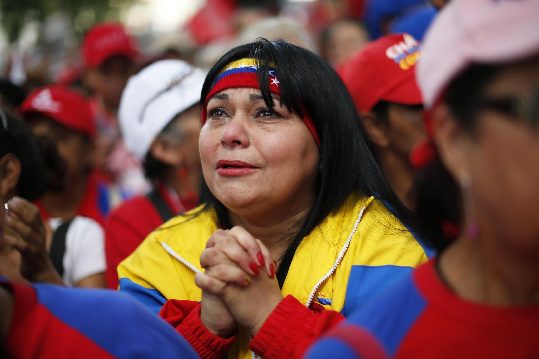Partidarios de Hugo Chávez salieron a manifestarle su apoyo en la Plaza Bolívar, Caracas.