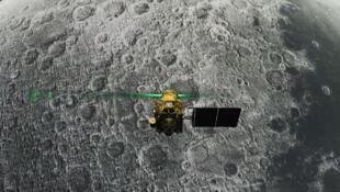 Capture d'écran issue du live de l'ISRO montrant la sonde Vikram juste à l'approche de la Lune.
