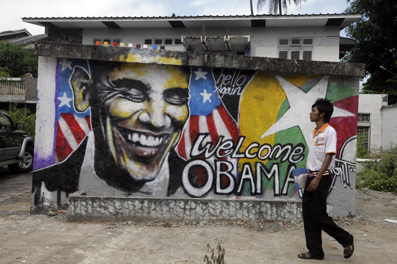 Un graffiti représentant le président américain, Barack Obama, dans une rue de Rangoon, le 17 novembre 2012.