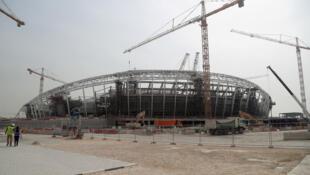L'Al-Wakrah Stadium en construction pour la Coupe du monde 2022 au Qatar.