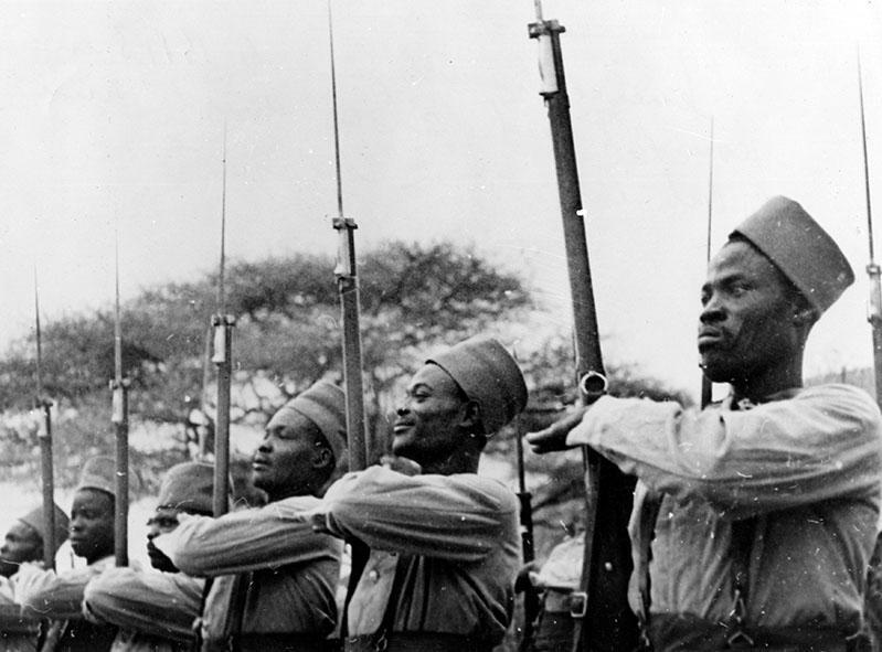 Free French Forces after fighting at Kub Kub, during the East Africa campaign, 20 February 1941