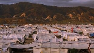 Refugee camps for after the earthquake waiting for Cyclone Tomas