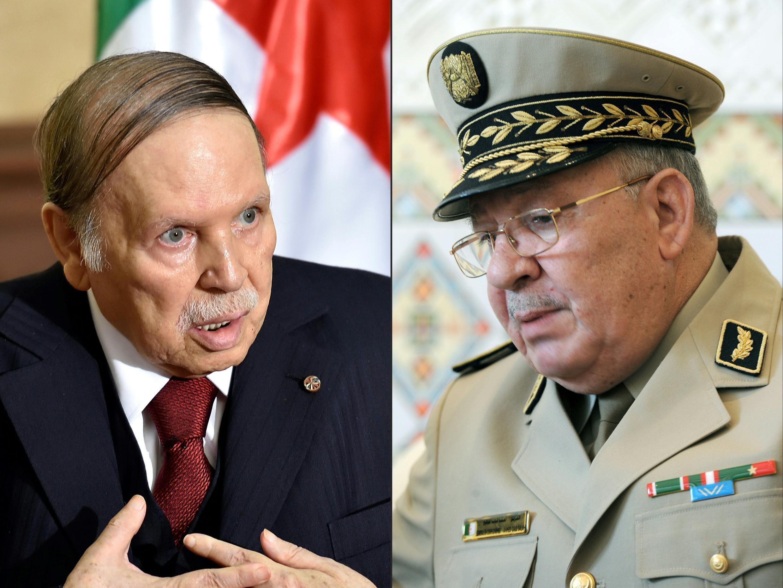 Photo du président algérien Abdelaziz Bouteflika (à gauche) et du chef d'état-major Ahmed Gaïd Salah.