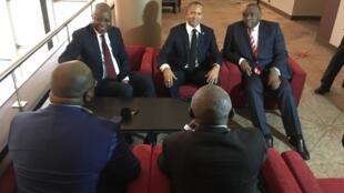 Viongozi wa upinzani wa DRC, Adolf Muzito, Moïse Katumbi, Jean-Pierre Bemba, Vital Kamerhe na Félix Tshisekedi walipokutana Brussels 12 septembre 2018.