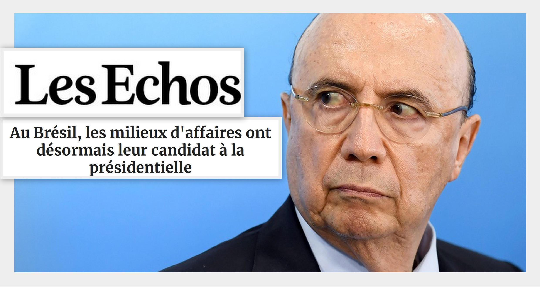 O jornal econômico francês Les Echos traz hoje um perfil de Henrique Meirelles, pré-candidato à presidência no Brasil.