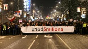Đoàn biểu tình đòi tổng thống Serbia, Alexandar Vucic từ chức, Belgrade ngày 26/01/2019.