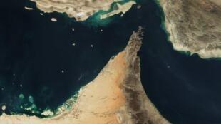 Imagem feita por satélite do Estreito de Ormuz.