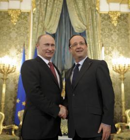 Владимир Путин и Франсуа Олланд перед переговорами 28 февраля в Москве