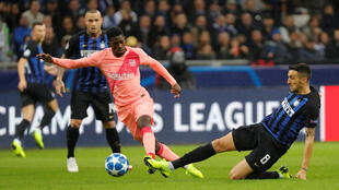 Barcelona's Ousmane Dembele in action against Inter Milan.