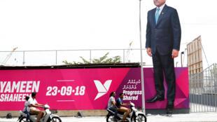 Outdoor da campanha à reeleição do presidente Abdulla Yameen, Maldivas, 19 de setembro 2018