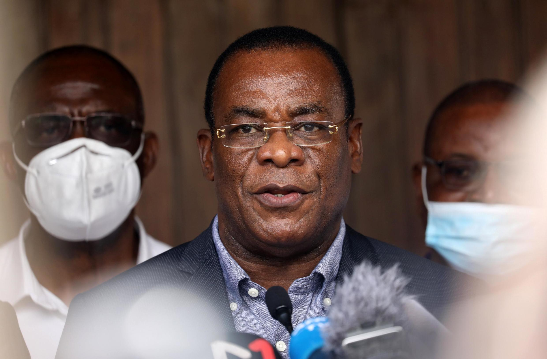 Pascal Affi N'Guessan, kiongozi wa chama cha Ivorian Popular Front (FPI) na mgombea urais mwaka 2020, wakati wa mkutano na waandishi wa habari huko Abidjan, Novemba 1, 2020.
