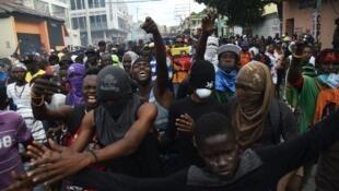Manifestation dans le centre de la capitale haïtienne, Port-au-Prince, le 12 février 2019.