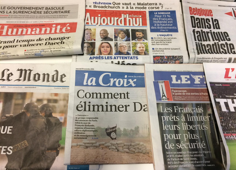Primeira páginas dos diários franceses de 18/11/2015