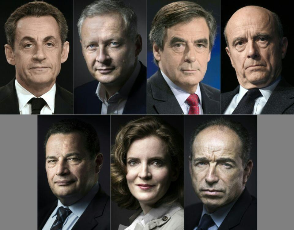 បេក្ខជនទាំង៧រូបនៃបក្សសាធារណរដ្ឋ ៖ លោក Nicolas Sarkozy,Bruno Le Maire, François Fillon, Alain Juppé (លើពីឆ្វេងទៅស្តាំ), Jean-Frédéric Poisson, Nathalie Kosciusko-Morizet, Jean-François Copé (ក្រោមពីឆ្វេងទៅស្តាំ)