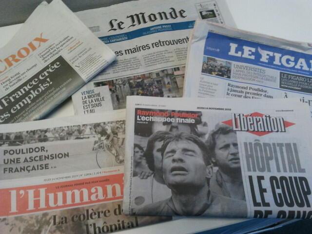 Primeiras páginas dos jornais franceses 14 de novembro de 2019
