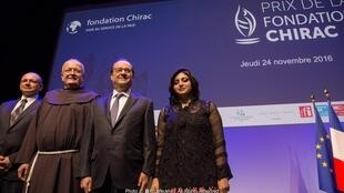 From right to left: Gulalai Ismail, Président Hollande, Father Ivo Markovic, Slobodan Soja