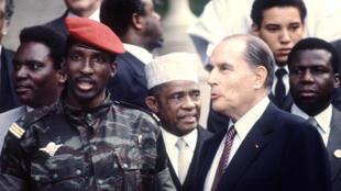 Thomas Sankara aux côtés de François Mitterrand, lors du 10e sommet franco-africain de Vittel, le 3 octobre 1983.
