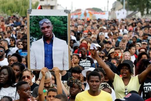 The portrait of Adama Traoré brandished during a demonstration in Beaumont-sur-Oise, July 21, 2018.
